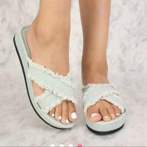 Shoes - Sexy Light Denim Crisscross Platform Sandals